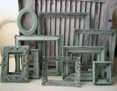 Sea Glass Green Painted Vintage Frames Set of by WillowsEndCottage