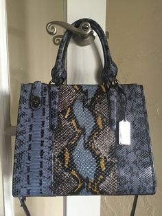 Coach 37177 Crosby Carryall Pieced Exotic Embossed Leather Cornflower Multi | eBay