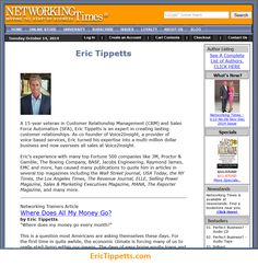 """Article I wrote just came out in Networking Times - """"Where Did All the Money Go?""""  Have an amazing day!! So much love, Eric  http://erictippetts.com/success-tips-money-go/"""
