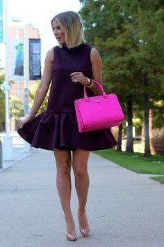 Black peplum dress.
