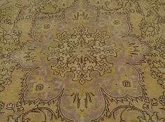 6.5' x 10' Oriental Rug Worn Persian Tabriz Natural Colors Hand Knotted