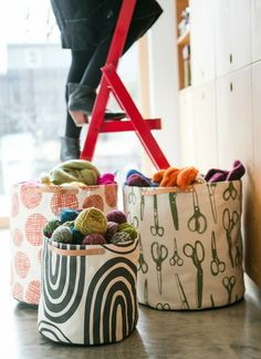 Canvas Storage Bin - 'Give & Take' www.queenbee-creations.com