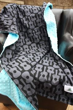 Baby Stroller Blanket -- Black Groovy Guitars with Turquoise Minky Dot -- MADE TO ORDER