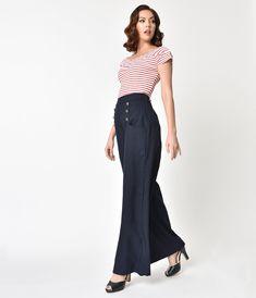 Unique Vintage 1940s Style Midnight Blue High Waist Sailor Ginger Pants