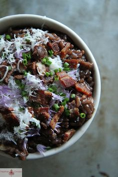 Red Wine Risotto with Bacon and Red Onion: This will be a great freezer meal. Clearly we need a red wine. The bacon is what I am going after and a Napa Pinot Noir would do nicely. Pick up some smoke in the barrel and this would balance nicely. @Gaby Dalkin