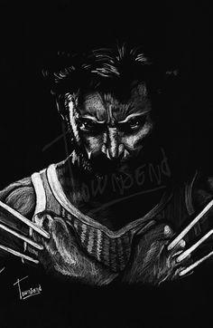 """Logan(Wolverine)"" - 12x12 white pencil on black paper."