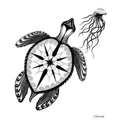 Sea Turtle & Jelly  Compass - Ink Drawing I love the compass
