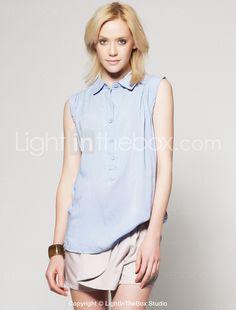 Sleeveless Oxford Blue Button Down Blouse