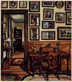 "David Payne's painting of a room in his family's house in Fulton, Missourri, published in House & Garden's Complete Guide to Interior decoration, 1947 edition. In the 1930s when Payne painted this evocative interior, these pieces weren't really considered antiques, just a lot of old furniture, ""amusing"" at best. Even now, it's not the actual pieces that have the appeal, but their unstudied arrangement."