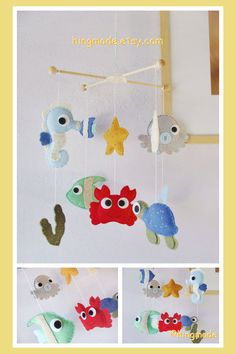 Baby Mobile- Sea Mobile - Crib Mobile - Under the Sea Mobile - Felt Animals Mobile - Go Fish Ocean (Custom color available) on Etsy, $98.00