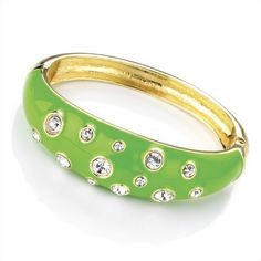 Minerva Collection Crystal Hinged Fashion Bangle Green