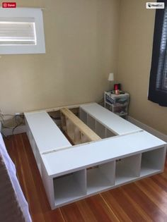 6 genius Ikea hacks with the Kallax shelf to add function and style to your space. diy bed frame 6 Brilliant Ikea Hacks for the Kallax Shelf Cama Murphy Ikea, Cama Ikea, Ikea Hackers, Platform Bed With Drawers, Platform Beds, Platform Bed With Storage, Ikea Platform Bed Hack, Queen Platform Bed Frame, Diy Platform Bed Plans