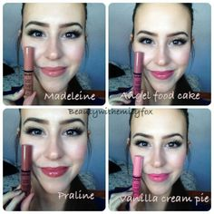 Lip swatches of the NYX butter glosses in Madeleine, Angel Food Cake, Praline and Vanilla Cream Pie! Loving the look of these colours Makeup To Buy, Drugstore Makeup, Beauty Make-up, Beauty Skin, Natural Beauty, Sephora, Nyx Butter Gloss, Makeup Swatches, Nyx Butter Lipstick Swatches