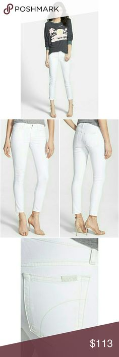 "Joe's Jeans Pennie Skinny Ankle in Optic White Year-round white is a denim must! Rock the wash with a pair of Joe's Jeans in a curve-hugging skinny fit. An ankle length makes these skinnies perfect for flaunting with some sexy heels.  * 43% cotton, 55% promodal, 2% lycra  * Machine wash cold, hang dry or dry clean * Imported Zip fly with button closure, five-pocket silhouette, high rise Tonal stitching, silver-tone logo hardware  * 9"" rise, 28"" inseam, 10.5"" leg opening Joe's Jeans Jeans…"