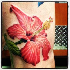 #HibiscusTattoo By Caryl Cunningham, Tattoo Artist/Painter in the #Detroit area