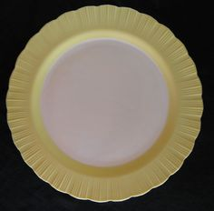 "Macbeth Evans 12"" White with Yellow Petalware Plate in Almost Mint Condition. $9.95, via Etsy."
