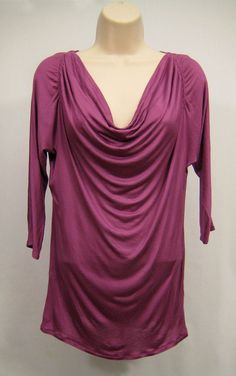 Banana Republic Womens Size M Purple Drape Blouse Top Scoop Neck 3/4 Sleeve #BananaRepublic #Draped