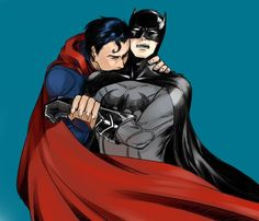 Superman steals a kiss on Batman. Could this be love? Found on Google images