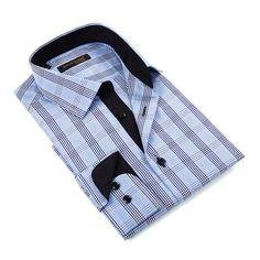 Glen Plaid Button-Down Shirt // Blue + Black (S)