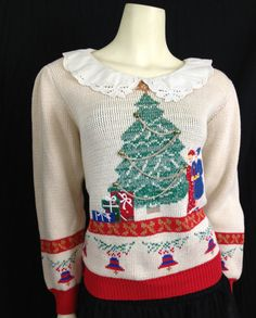 Ugly Christmas Sweater Vintage 1980s puff sleeve Peter Pan collar tree applique Sweater Loft    Sometimes the most tasteful of the ugly