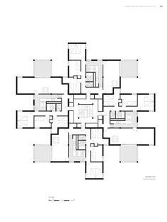 from Spanish housing Social Housing Architecture, Concept Architecture, Architecture Details, Hotel Floor Plan, House Floor Plans, Architectural House Plans, Apartment Floor Plans, Apartment Layout, Building Design