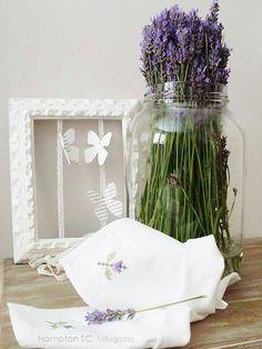 Lavender in a jar, lavender embroidered on linen...