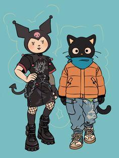 Night Out by Luxjii on DeviantArt Cute Art Styles, Cartoon Art Styles, Anime Bebe, Mark Ryden, Arte Obscura, Arte Sketchbook, Sanrio Characters, Hello Kitty Characters, Wow Art