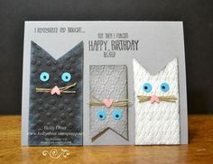 Fun cat card made with Stampin' Up! products.  Remembering My Birthday stamp set for greeting.  Perfect Polka Dots, Fancy Fan, and Argyle embossing folders for texture.  Smoky Slate, Basic Black, and Whisper White for color combination.