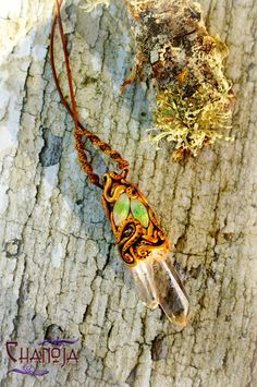Crystal Healing Pendant Beyond Within-fairy jewelry clear crystal quartz point mineral specimen leaves boho hippie necklace unique gift idea by ChaNoJaJewelry on etsy.