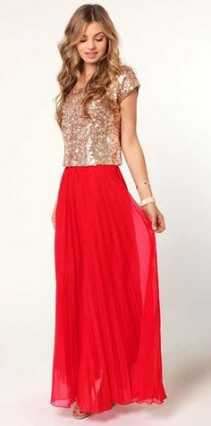 Red maxi skirt. With gold sequined top.