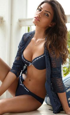 Alyssa Miller Simple navy ribbon lingerie with a lace shirt ♥ p.2.4 #KyFun