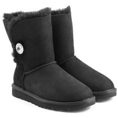 UGG Australia Bailey Bling Boots ($230) ❤ liked on Polyvore featuring shoes, boots, black, black shoes, calf length boots, black boots, mid-calf boots and sparkle shoes
