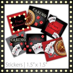 Casino Party Stickers . PRINTABLE . Casino Night . INSTANT DOWNLOAD ~ $6.00 ~ casino stickers, casino printable stickers, casino printable casino tag, casino tags, casino labels, casino party, casino celebration, casino event, do it yourself casino, printable casino, red & black casino, red & black, poker party, las vegas party, classy casino stickers, fancy casino, retirement party ~ #CasinoRetirement #CasinoParty #CasinoTheme https://www.etsy.com/listing/102267008