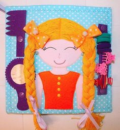 tie hair felt page Diy Quiet Books, Baby Quiet Book, Felt Quiet Books, Quiet Book Templates, Quiet Book Patterns, Book Activities, Toddler Activities, Silent Book, Sensory Book