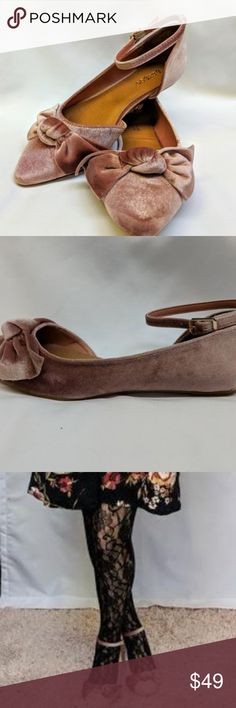 Velvet Mauve Now Flats NIB Sweet Velvet shapes this chic pair of flats, that are sure to be a style staple! A pointed toe and slender cupped heel sculpt that classic d'Orsay style, while a sweet bow adds a stylish finish at the pointed toe!   Lightly cushioned insole Non-skid rubber sole Brand: Bamboo  Fishnet tights also available in my closet! BAMBOO Shoes Flats & Loafers