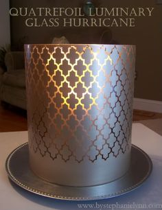Under The Table and Dreaming: Spray Painted Quatrefoil Glass Hurricane Luminary {Using Vinyl Stencils}