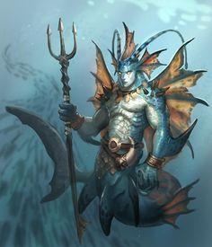 Triton deus dos abismos e forças abissais filho de Posseidon deus rei dos mares e de Anfitrite