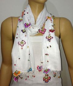 Crocheted SNOW WHITE scarf with handmade multi color oya flowers - White Scarf - Beaded Scarf - Crochet Beaded Scarf Crochet Flower Scarf, Crochet Scarves, Crochet Clothes, Crochet Flowers, Hand Crochet, Crochet Stitches, Knitted Shawls, White Scarves, Pink Scarves