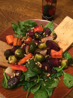 Roasted Vegetable Salad with Dried Cherries and Michelle's Signature Salad Dressing! Use any roasted vegetables over a bed of spinach, throw in a handful of dried cherries and toss with dressing. Michelle's Signature Dressing: 2 oz. Cherry Works Wellness Tart Cherry Concentrate ½ TBSP Honey 2 oz. Oil ½ oz. Wine Vinaigrette Salt and Pepper Blend well and Enjoy!