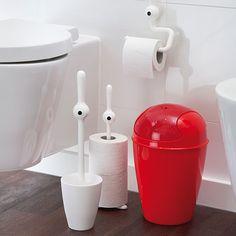 Colección de accesorios para el baño. Soporte para el papel higiénico, basurera y base para el papel.