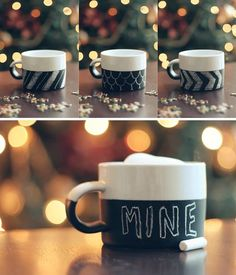 DIY Chalkboard Mug - Turn an ordinary porcelain mug into a fun chalkboard by using Pebeo Porcelaine 150 Chalkboard Paint. Diy Holiday Gifts, Diy Gifts, Christmas Crafts, Homemade Christmas, Christmas Mugs, Xmas Gifts, Family Christmas, Christmas Presents, Unique Gifts