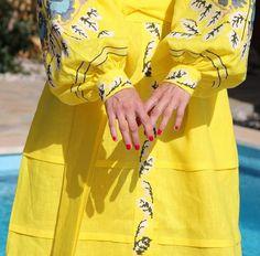 Fanm Mon Bright Yellow Linen Wrap Style Multi Color Vyshyvanka MIDI Dress Multi Color Embroidery size XS-XXL MYD001-0120