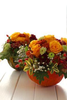 Kürbisgesteck Blumengesteck Blumen Kürbis