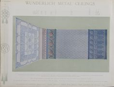 Catalogue page, 'Color Supplement ii' of 'Abridged General Catalogue of Metal Ceilings, Wall Linings and Stamped Metal for Exterior and Interior Decoration', Wunderlich Limited, Redfern, New South Wales, Australia, September 1912  'Color Supplement ii' of 'Abridged General Catalogue of Metal Ceiling...