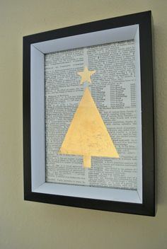 Easy DIY gold leaf print! For Chrsitmas Decorating Fun!  Tutorial on Remodelaholic.com