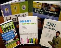 Organizing and un-cluttering your home help with the books on display.
