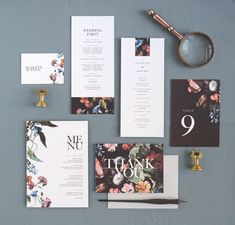 Modern Wedding Stationery, Wedding Program, Menu, Place Cards, Thank you card, Table Number card, Florals, Typography | Rachel Marvin Creative