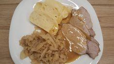 Sült hús knédli káposzta Apple Pie, Food And Drink, Pork, Menu, Chicken, Breakfast, Rococo, Projects, Kale Stir Fry