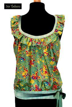 Top women blouse silk floral grass green ruffle by IraTadson, $58.00