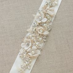 Bridal sash Champagne crystal Wedding dress belt by LeFlowers